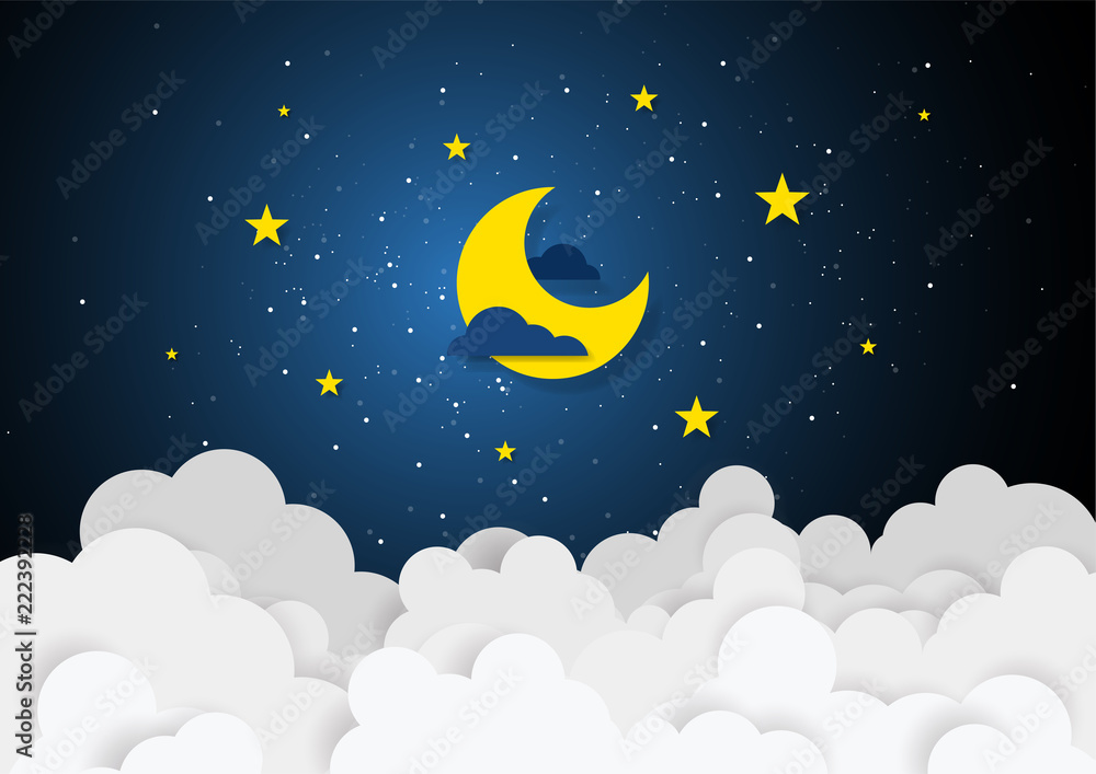 Fototapeta Paper art style of moon and stars in midnight concept. Business flat design vector illustration