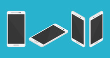 Isometric Smartphone Set Collection From Left Right Front And Top