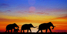 Silhouette Elephants In The Landscape On Blurry Sunset. Oil Painting