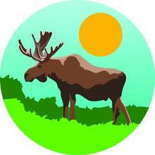 Simple Moose Vector Illustration