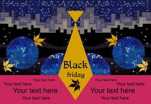 Template For Black Friday Sale Banner With Inverted City And Autumn Leaves In Night Cosmos. Stylized Men's Tie With Logo In Form Of Silhouette Of Virgin Vine Leaf And Abstract Text.