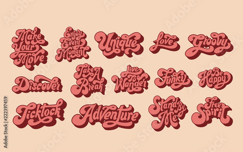Mixed set of motivational words typography Tapéta, Fotótapéta