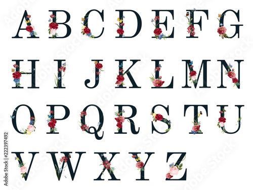 Canvas Print Botanical alphabet with tropical flowers illustration