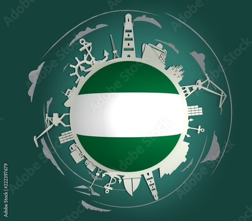 Foto op Plexiglas Rotterdam Circle with sea shipping and travel relative silhouettes. Objects located around the circle. Industrial design background. Rotterdam flag in the center. 3D rendering