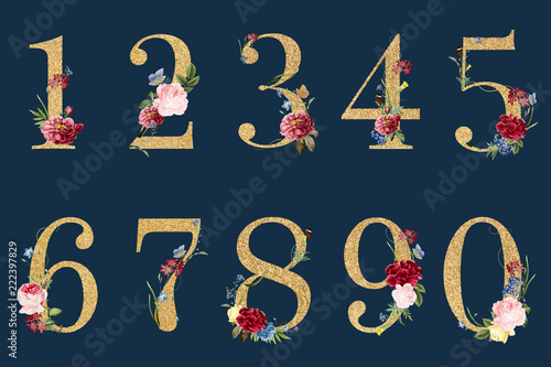 Botanical numbers with tropical flowers illustration Fototapete