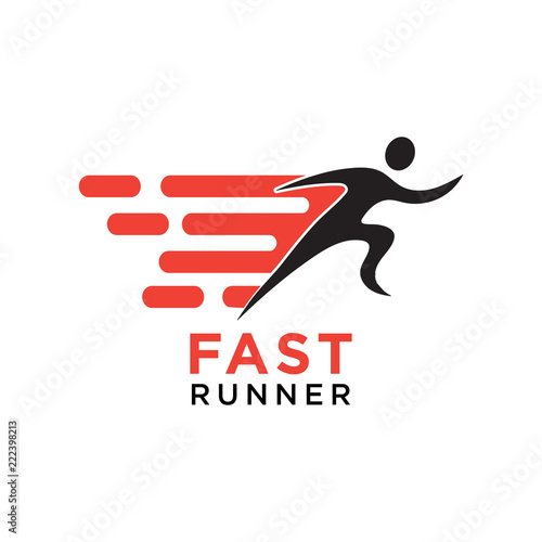 Fotografiet  Fast running silhouette logo design template vector