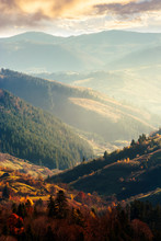 Beautiful Afternoon In Mountains. Lovely Autumn Weather. Nearest Forest In Colorful Foliage. Distant Mountain In Haze. Vertical