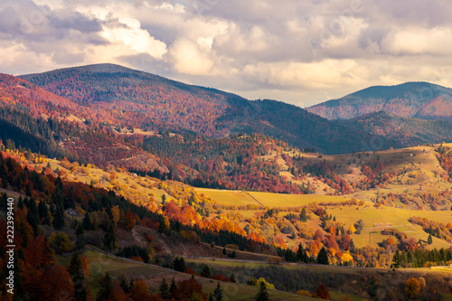 autumn countryside in mountains in red sunset. beautiful landscape in Carpathian mountains