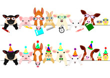 Cute Farm Animal Babies Border Set With School Items And With Party Hats And Ties