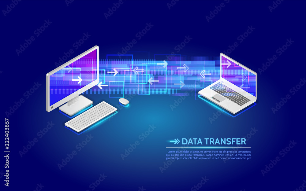 Fototapeta File transfer from computer to laptop. Abstract virtual digital stream. Wireless  communications concept. Data flow vector illustration