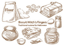 Traditional Halloween Food. Biscuit Witch`s Finger