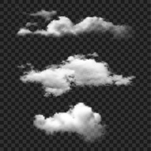Cloud Set Vector Icon. Clouds On Transparent Background. Simple Isolated Illustration.
