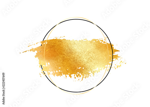 Obraz Gold glitter foil brush stroke vector. Golden paint smear with circle round border frame isolated on white. Glow metal creative pattern. - fototapety do salonu