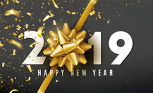 2019 Happy New Year Vector Background With Golden Gift Bow, Confetti, White Numbers. Christmas Celebrate Design. Festive Premium Concept Template For Holiday.