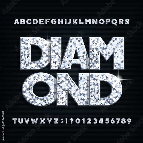 Photo Diamond crystal alphabet font