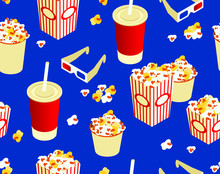 Seamless Popcorn Pattern In A Cup Soda And Points On A Blue Background. Funny Drawing In Isometric 3D