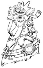 Cock Head Steampunk Style Symbol Of Time. Coloring Book