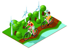 Happy Family On A Walk By Nature. Cycling In The Park. Ecological Mode Of Transport. Windmills, Trees And River. Isometric 3d