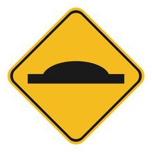 SPEED HUMP Sign. Yellow Rhombu...