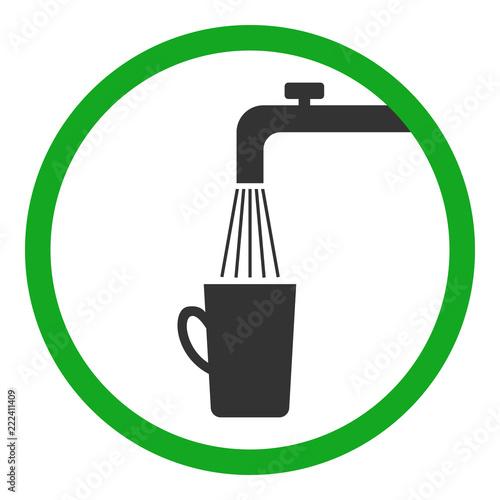 Fotografie, Obraz  Potable water symbol. Water tap and mug. Vector.