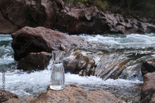 Picture of a glass flask with water  - Buy this stock photo
