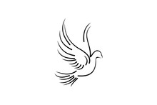 Pigeon Line Art For Wedding And Boutique Logo Design Inspiration