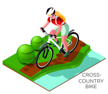 Illustration Of Riding A Bike In A Meadow Beside The River Or Lake. Cyclist Cross Country. Isometric On A White Background, 3d