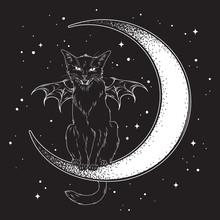 Black Cat With Bat Wings Sitti...