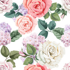 FototapetaSeamless floral pattern.Rose and hydranyea with leaves