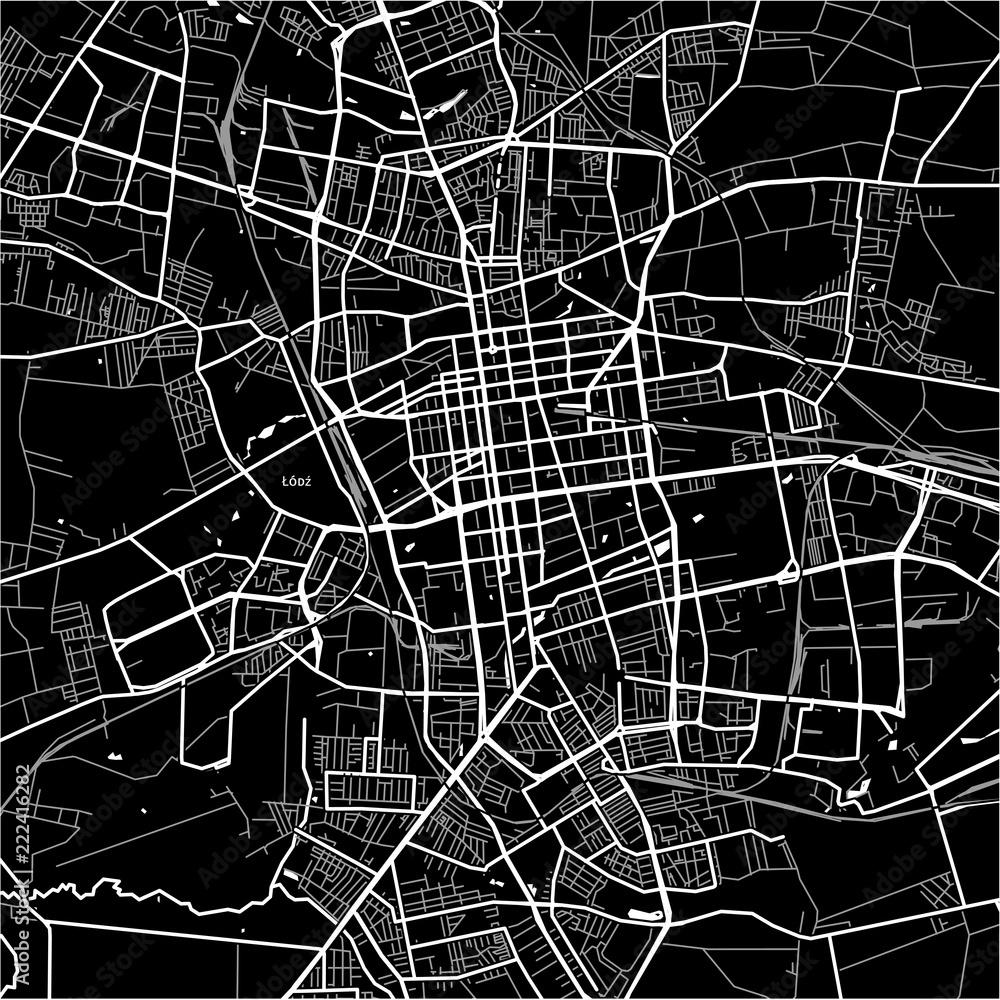 Fototapeta Area map of Łódź, Poland