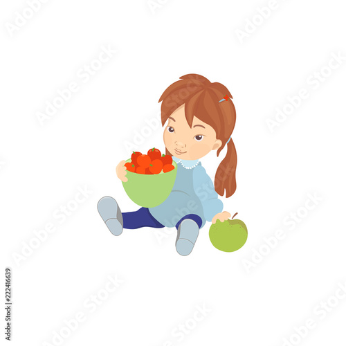 Cute Little Baby Girl Eating Healthy Food Snack For Children Cartoon Colorful Illustrations Isolated Buy This Stock Vector And Explore Similar Vectors At Adobe Stock Adobe Stock