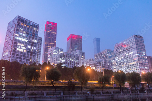 Poster Stad gebouw Beijing, China, CBD night landscape
