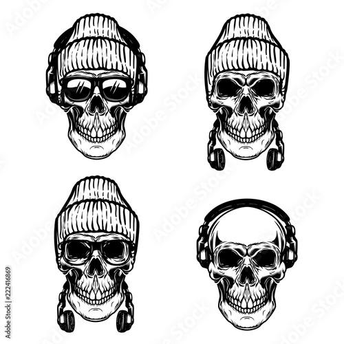 Fotografie, Obraz  Set of human skulls with headphones