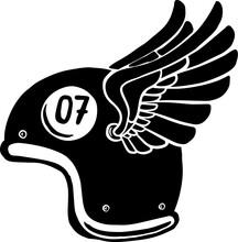 Illustration Of Racer Helmet With Wings. Design Element For Poster, Sign, Emblem, Badge, T Shirt.