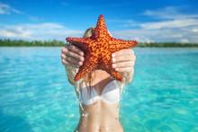 Hand Holding Red Starfish