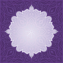Violet Purple Floral  Vintage Seamless Pattern Background  Design Trendy Fashion Mandala Design Copy Space