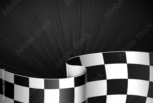 Deurstickers F1 Black rally background, sport banner. Checker flag