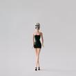 Leinwanddruck Bild - Girl doll with skull head. Minimal concept.