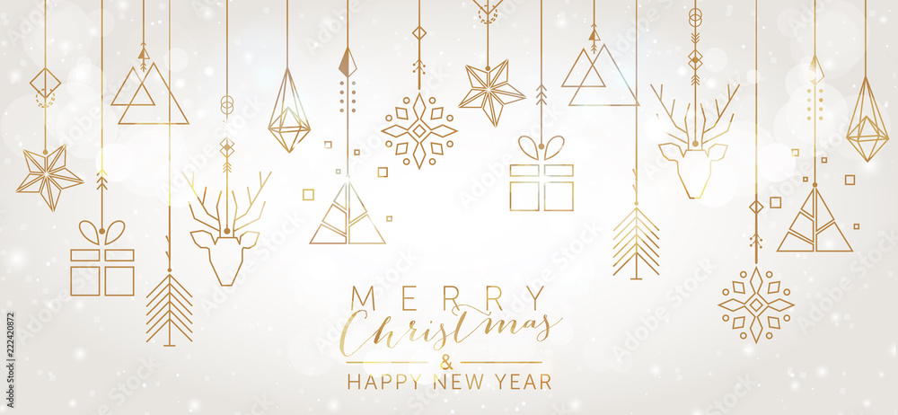 Fototapeta Christmas and New Year background with geometric elements