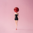 Leinwanddruck Bild - Girl in black dress with red disco ball head. Minimal party concept.