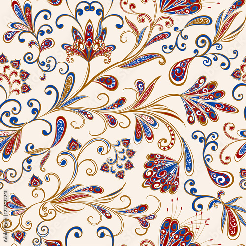 Poster Style Boho Abstract vintage pattern with decorative flowers, leaves and Paisley pattern in Oriental style.