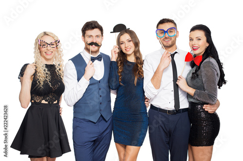 Fotografie, Obraz  celebration, fun and holidays concept - happy friends posing with party props