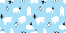 Bear Seamless Pattern Polar Bear Vector Penguin Christmas Scarf Isolated Cartoon Illustration Tile Background Repeat Wallpaper