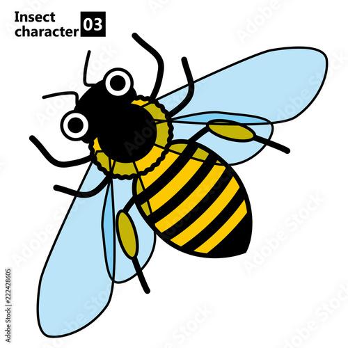 擬人化した昆虫のイラストミツバチinsect Character Bee Buy This