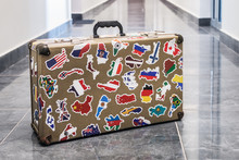 Suitcase Stickers Of The Flags Of The Countries From Travels Around The World