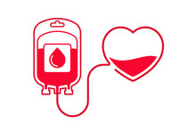 Blood Donation Vector Illustration. Donate Blood Concept With Blood Bag And Heart. World Blood Donor Day - June 14.