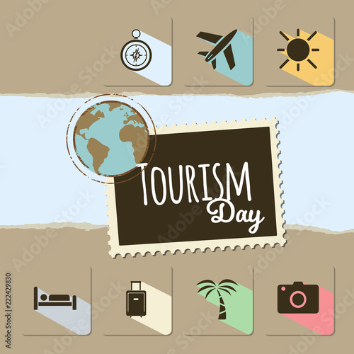 World Tourism day card on brown background