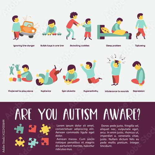 autism-early-signs-of-autism-syndrome-in-children-vector-illustration