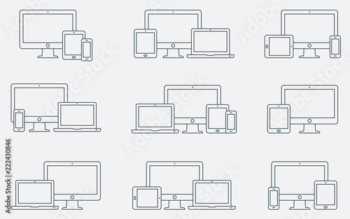 Stampa su Tela Vector set of outline device icons