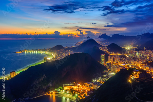 Spoed Foto op Canvas Amerikaanse Plekken Sunset view of Copacabana and Botafogo in Rio de Janeiro, Brazil